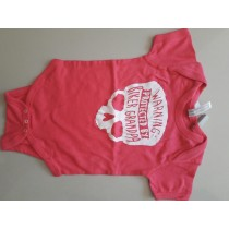 Biker Baby grow 0-3 months, Pink , Warning protected by granpa biker  REDUCED TO CLEAR